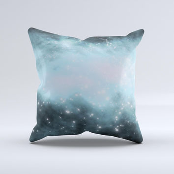 Light Dark Blue Space Ink-Fuzed Decorative Throw Pillow