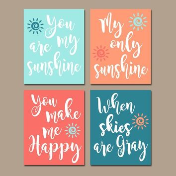CORAL TEAL Nursery Wall Art, You Are My Sunshine Wall Art Canvas or Prints Nursery Rhyme Quote Song, Coral Aqua Baby Crib, Set of 4