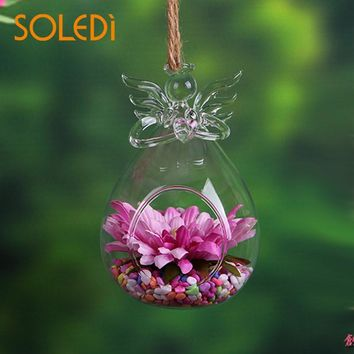 Glass Hydroponic Container Hydroponic Plant Bottle Terrarium Hanging Vase Angel Wishing