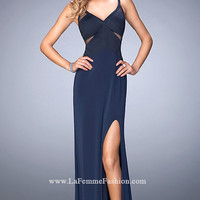 Long V-Neck La Femme Open Back Prom Dress