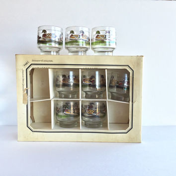 Vintage Libbey Wood Ducks Rocks Glasses in Original Box Set of 8