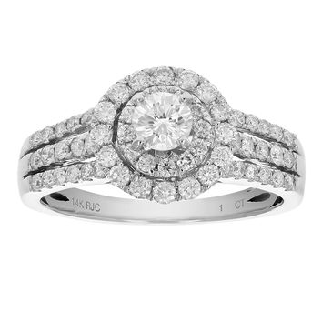 0.30 Carats 1 CT Diamond Engagement Ring 14K White Gold