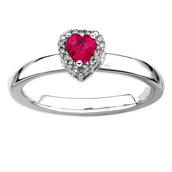 Sterling Silver Stackable Expressions Simulated Ruby Heart Diamond Ring: 10