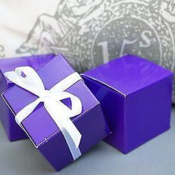 10 Dark Purple Square Favor Boxes, Favor box, Jewelry Gift Box, Party Decoration