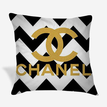 Gold Chanel Logo Black Chevron Print Pillow Case