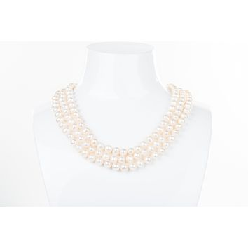 White Triple Strand Layer Freshwater Pearl Necklace 8-9mm