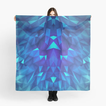 'Deep Blue Collosal Low Poly Triangle Pattern - Modern Abstract Cubism Design' Tuch by badbugs