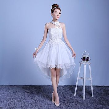 ZX-D48BS#2016 new summer short long before after shortparagraph a bride bridesmaid dresses wedding dress female toast White