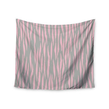 "Wildlife ""Pink Animal Print 12"" Gray Painting Wall Tapestry"