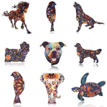 Acrylic Animal Elephant Cat Brooch Dog Horse Bird Brooch for Women Pin Badges Fashion Dress Coat Accessories Jewelry