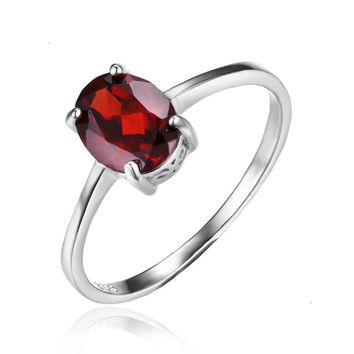 Silver 1.6ct Pure Red Garnet Solitaire Ring