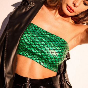 Sexy Hot Fashion Off Shoulder Fish scales Bra