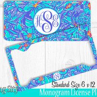 Tropical Blue Mai Tai Monogram License Plate Frame Holder Metal Wall Sign Tags Personalized Custom Vanity Plate
