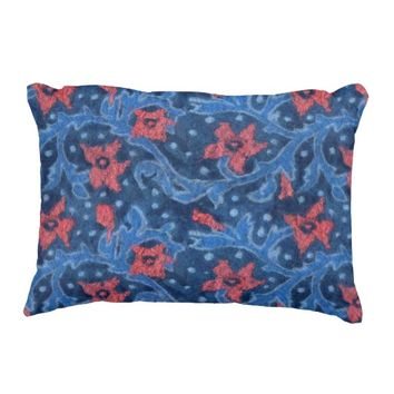 Floral branch with coral flowers, wool painting accent pillow