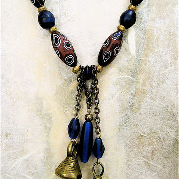 CIJ SALE Vintage African Bell Necklace with Vintage Cobalt Glass Czech and Venetian Eye Beads Brass Dangles on Leather Ethnic Jewelry