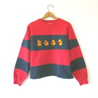 Vintage 90's WINNIE the POOH Striped Walt DISNEY Embroidered 50/50 Blend Cropped Short Sweatshirt Sz M