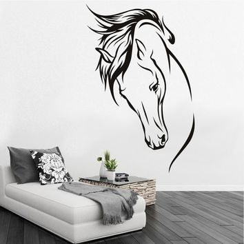 Black Horse Head Vinyl Art Wall Stickers Decal Animal DIY Living Room Home Decor