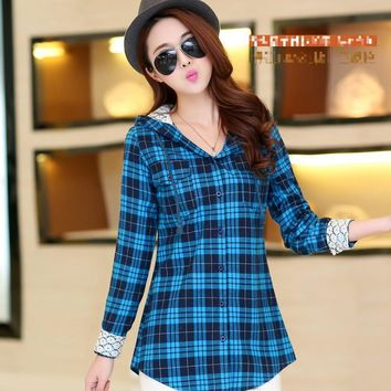 New fashion High Quality women tops chic lace blouses shirts long sleeve shirt hoodie pullover hood hat ladies plaid plus size