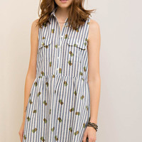 Striped Pineapple Button Down Dress