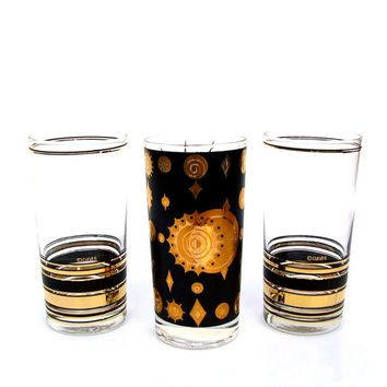 Mid century Cocktail Glasses Bar Black Gold Culver Fred Press