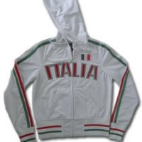 Girls/Juniors Italia Track Jacket, Italian World Cup Soccer Hooded Juniors Track Jacket, Medium, White