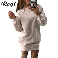 Rogi Sweat Femme Manche Longue 2018 Autumn Casual Hoodies Dress For Women Loose Jumper Sweatshirt Female Pullover Mini Vestidos