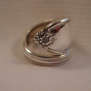 A beautiful Spoon Ring Wrap Size 9 1/2 Remembrance Pattern Handmade Spoon and Fork Jewelry t530