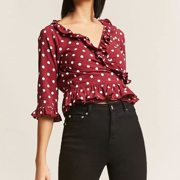 Motel Polka Dot Ruffle Top