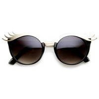 Womens Cute Eye Lash Fashion Oval Sunglasses 9385