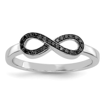 14k White Gold Black Diamond Infinity Ring