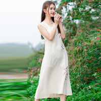 Women's Casual Sleeveless Floral Printed Midi Linen Dress