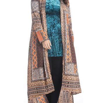 Streetstyle  Casual High-Low Tribal Printed Lapel Plus Size Duster Coat