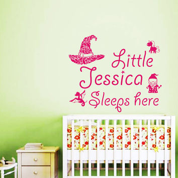 Girl Name Wall Decals Little Girl Sleeps Here Decal Kids Nursery Quote Fairy Vinyl Stickers Home Bedroom Decor T149
