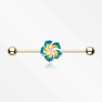 Golden Hawaiian Plumeria Industrial Barbell
