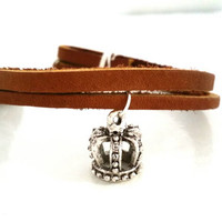Leather Charm Bracelet, Silver Plate Wire Wrapped, Crown Charm, 7 inch, Multi Layered Brown Cuff,