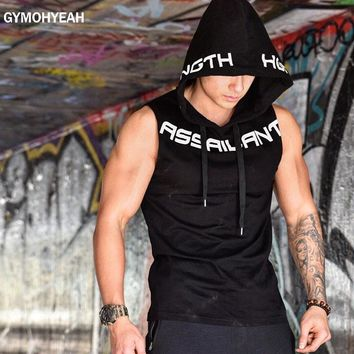 NEW Mens Gyms Hoodie Singlets Sweatshirts sleeveless hoodies printing Bodybuilding Fitness male waistcoat Shirts Casual hoodies