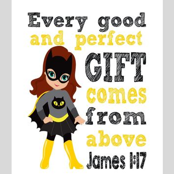 Catgirl Superhero Christian Nursery Decor Print - Every Good and Perfect Gift Comes From Above - James 1:17