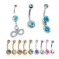 BodyJ4You 12PCS 14G Belly Button Ring Clear CZ Dangle Aqua Rose Bow Navel Piercing Jewelry Set