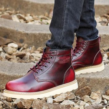 Waterproof Mens Boots Autumn Leather Shoes  Casual Men's Martin Boots Fashion Ankle Western Boots Cowboy bota masculino