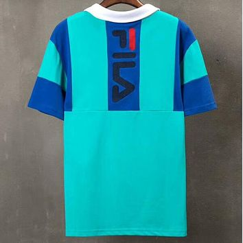 FILA 2018 summer new men and women color matching heavy duty embroidery POLOT shirt F-AA-XDD Green