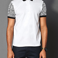 Tribal Print Polo White/Black