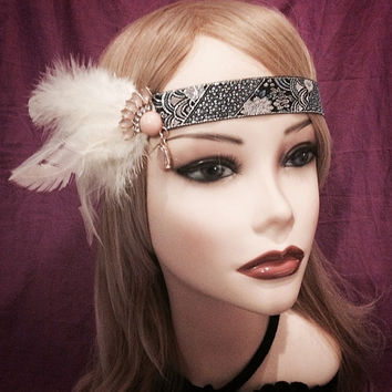 Unique Art Deco 1920's style Goose Feather Flapper Blue Silver Gray Black Rhinestone tassel Headband Gatsby Head Piece 20s headpiece Pink
