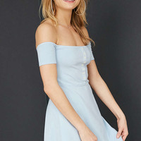 Truly Madly Deeply Off-The-Shoulder Button-Front Mini Dress - Urban Outfitters