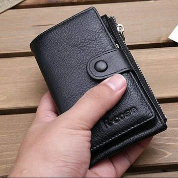 High Quality Genuine Leather Key Wallet  New Arrival Housekeeper Card Key Holders Coin Purses Holders Zipper