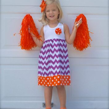 CLEMSON TANK DRESS  purple chevron & orange polka dot fabrics - many sizes..also available in short sleeves and long sleeves..many sizes!
