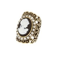 Black Rhinestone-Trim Cameo Cocktail Ring by Charlotte Russe