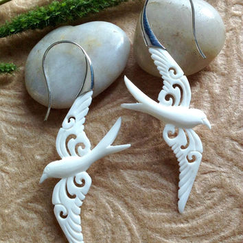 "Tribal Earrings, ""Love Dove"" Natural, Bone, Sterling Silver Posts, Handcrafted"