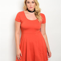 Rust Color Scoop Neck Jersey Dress