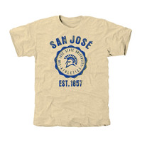 San Jose State Spartans Old-School Seal Tri-Blend T-Shirt - White