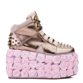 Y.R.U. Qozmopolitan Metallic Gold Pink Spiked High Rose Platform Sneakers